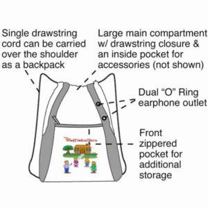 Drawstring tote bag description for website