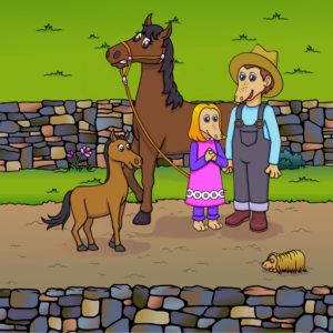 Maple, horse, foal and uncle pete